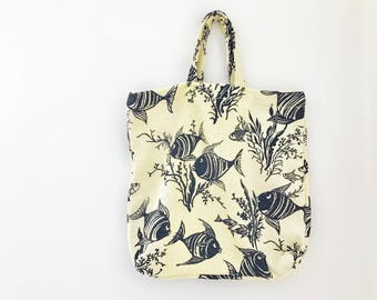 50s Beach Bag - Vintage Nautical Fishes Fabric