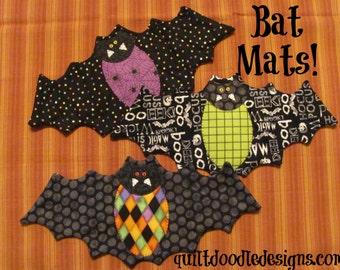 Going Batty Bat Mug Mats for Halloween PDF pattern