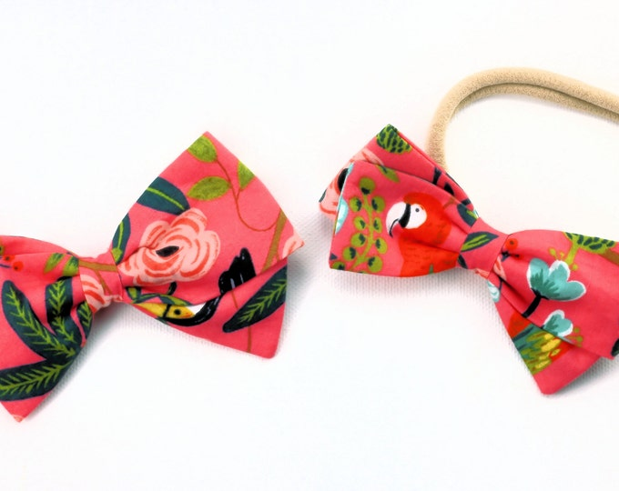 Rifle Paper Co Bow - Menagerie Paradise Garden Coral - Fabric Hair Bows for Girls - Nylon Headbands or Hair Clips for Girls