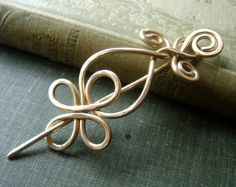 Celtic Loops and Spirals Brass Shawl Pin, Scarf Pin, Hair Pin, Sweater Clip, Brooch, Celtic Knot Knitting Jewelry,Women, Fashion Accessories