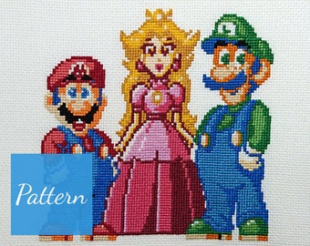 Super Mario Trio Cross Stitch Pattern
