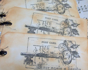 Christmas Post Card Greetings Vintage Themed Hand Stamped Gift Tags - Set of 4 Ex- Large Tags