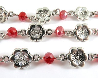 3ft Red Floral Chain Antique Silver Designer Chain Tibetan Style 6x4mm Rondelle 18x10mm Flower Links - 39.3 inch - STR9091CH-AS39