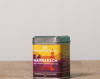 Marrakech Loose Leaf Tea - Moroccan Mint Tea - The Wanderlust Tea Collection - Mint, Camomile, and Lemon Green Tea - 50g tin