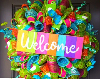 Summer wreath, wreath, deco mesh wreath, summer wreath, spring wreath, welcome wreath, front door wreath, pool party
