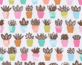 YARD - Erin McMorris Fabric, Intermix, Terra, Petal, Potted Plants, cotton quilting fabric