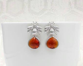 Silver Bee Earrings, Matte Silver Bee Long Dangle Earrings, Bee Jewelry, Gift for Her
