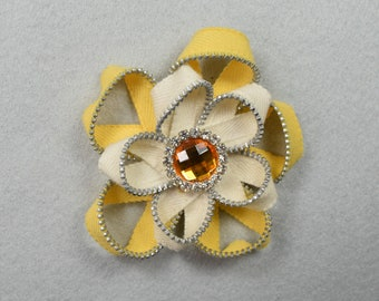 Yellow Brooch, Barrette, Clip, or Headband, Zipper Pin, Zipper Art, Flower Pin, Flower Headband, Flower Clip, Upcycled, Recycled, Repurposed