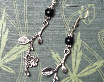 Blackthorn Leaf & Flower Earrings with Black onyx - Cursing and Protection - Pagan, Wicca, Witchcraft
