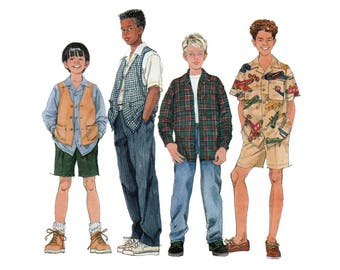 Boys Shirt, Vest, Pants and Shorts Sewing Pattern Child Size 7, 8, 10 UNCUT Simplicity 7224