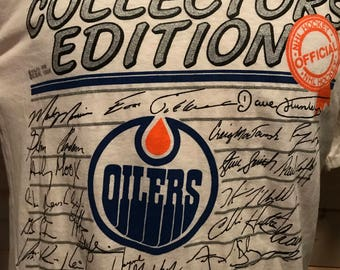 Vintage 1980's Edmonton Oilers Collectors Edition With Tag Thin and Soft   T-Shirt