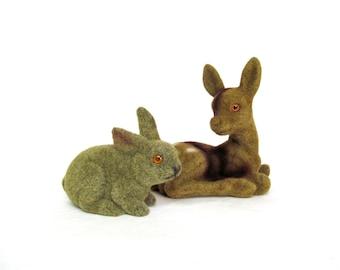 Vintage Flocked Deer and Bunny, Woodand Friends, Childrens Room or Easter Decoration