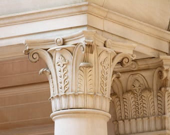 GREEK CORINTHIAN COLUMNS, W&M Campus, William and Mary College, Tribe,  Colonial Williamsburg, Photograph, Notecard, Architectural Detail