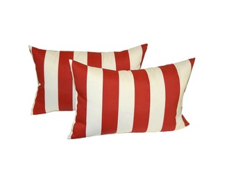 Set of 2 - Indoor / Outdoor Rectangle / Lumbar Pillows - Red and White Stripe
