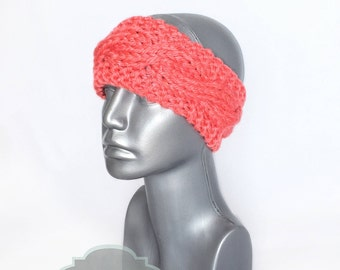 Coral Cable Knit Headband, Salmon Pink Ear Warmer, Dark Peach Knit Head Wrap, Knit Winter Headband, Head Warmer,