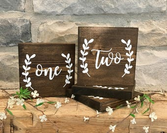 Set of 15 Wedding Table Number Signs, Wedding Reception Sign, Rustic Table Number Signs, Wedding Decor