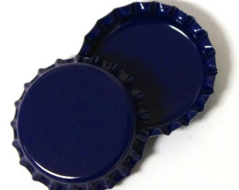 50 Two-Sided Dark Blue Bottle Caps Jewelry Magnets New Linerless BRAND NEW