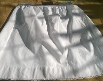 Victorian Petticoat White Half Slip Lace Trim Handmade French Cotton Skirt Clothing for Costumes Movies Plays #sophieladydeparis