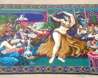 Vintage Belly Dancer Faux Tapestry, Gold Costume, Belly Dance, Belly Dancer, Wall Art, Gift, Dance