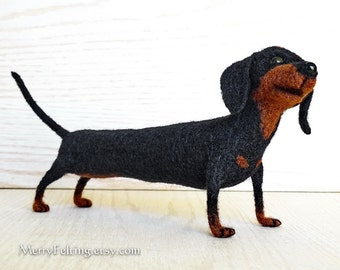 Handfelted Dachshund dog, Sausage dog soft toy, Dachshund interior Home decor Handmade gift, black, brown. Made To Order