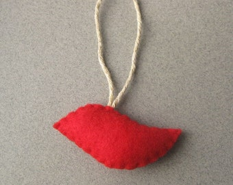 Small Red Bird Felt Christmas Ornament Eco-Friendly Recycled