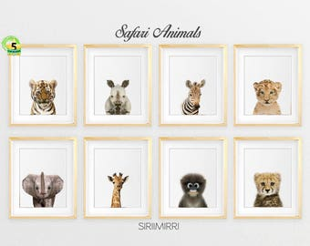 Safari Nursery Decor, Safari Animal Prints, Printable Art, Nursery Wall Art, Nursery Safari Prints, Giraffe, Elephant, Monkey, Tiger, Zebra