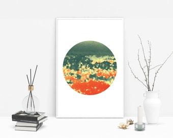 Modern Printable Art, Circle Print, Abstract Minimalist Poster, Printable Wall Art, Orange & Green Home Decor, Minimalist Circle Art