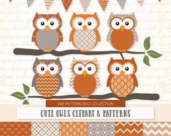 Patterned Pumpkin Owls Clipart and Digital Papers - Pumpkin Owl Clipart, Owl Vectors, Baby Owls, Cute Owls, Orange Owls