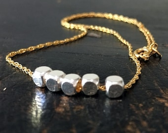 Minimalist choker necklace, dainty 5 beads necklace, Layering Necklace, two tone necklace, Gift for her, gold silver necklace - AFN 101