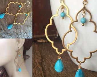 Turquoise earrings; gold turquoise earrings; turquoise and gold dangles; turquoise and gold drops; polishedpodge; polished podge