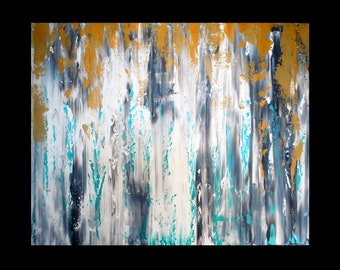 Abstract original thick painting gray black white turquoise gold FREE SHIP living room kitchen bedroom dining room nursery art 16x20 canvas