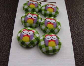 "Wearable Sew On Fabric Covered Buttons - Size 30 or 3/4"" Owls"