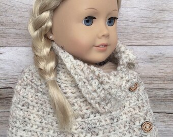 DIY Crochet Pattern – 18 inch Doll Wheat Button Poncho Wrap PDF 18 (Fits American Girl Dolls) – Digital Download