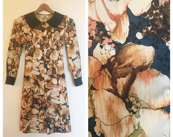 SHOP SALE Vintage 60s 70s Peony Floral Long Sleeve Dress S/M