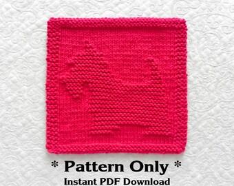 Knitted DISHCLOTH Pattern of SCOTTIE Dog, Scottish Terrier Dog Dish Cloth Pattern / Knit Wash Cloth Pattern, Kitchen Dishrag, Dog Lover Gift