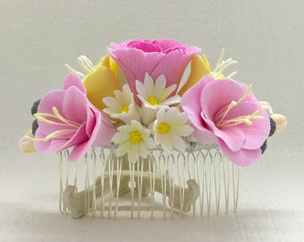 Flower hair comb, wedding accessories, hair jewelry