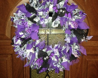 Just Batty Handmade Halloween Rag Wreath- SALE-Can ship fast!!