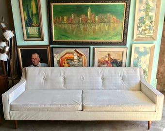 "RETRO/MID CENTURY Modern 84"" White Vinyl Sofa (Los Angeles)"