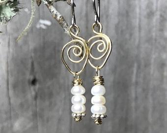 Pearl Earrings - Beaded Earrings - Drop Earrings - Dangle Earrings - Boho Chic Earrings - Rustic Jewelry - Gifts for Her