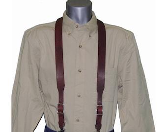 Burgundy Leather Suspenders