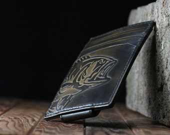 BASS FISH Magnetic Front Pocket Wallet • BLACK • Money Clip Wallet • Personalized Wallet • Mens Leather Wallet • Multi-Card Functionality •