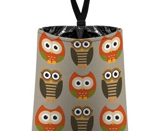 Car Trash Bag // Auto Trash Bag // Car Accessories // Car Litter Bag // Car Garbage Bag - Owls - Orange Taupe Green Tan // Car Organizer