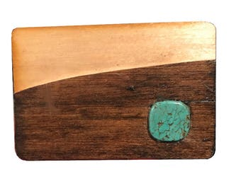 Vintage Wood and Turquoise Stone Belt Buckle - Handmade Wooden - Art - Gift Idea - 1970s - Arts and Crafts - Inlay Inlaid - Woodwork