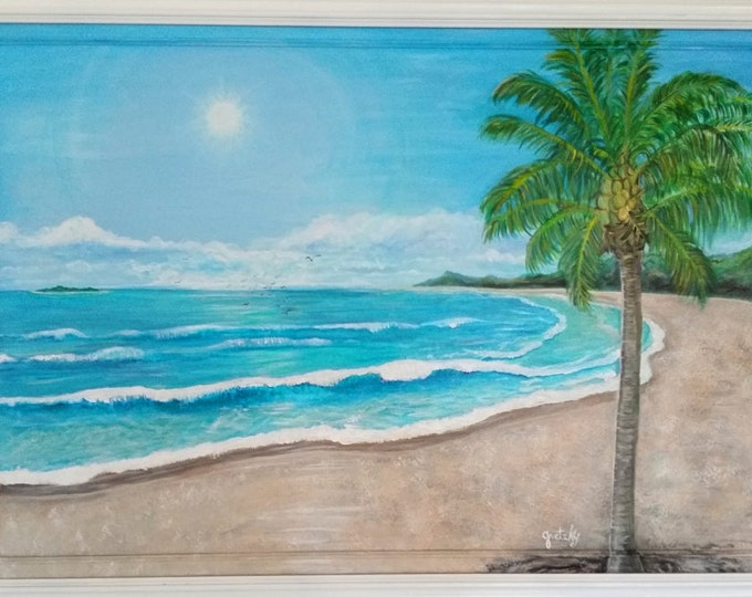 Tropical Ocean Beach Original Painting Free Shipping USA
