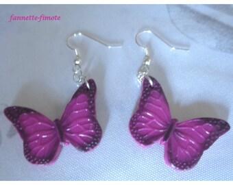 Earrings polymer clay Fimo Pink Butterflies - handmade