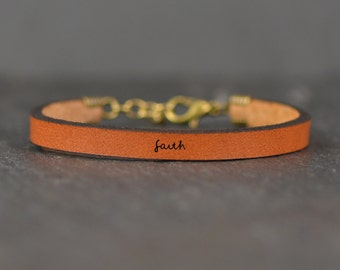 faith leather bracelet   faith bracelet   leather jewelry   faith   scripture jewelry   christian jewelry   name bracelet   laurel denise