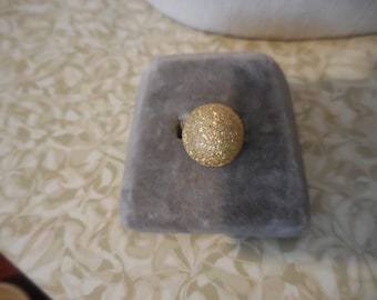Vintage 1960s to 1970s Gold Tone Adjustable Ring Round Domed Large Costume