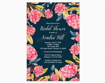 Hydrangea Bridal Shower Invitation, Botanical Bridal Shower Invitation, Watercolor, Personalized, Printable and Printed
