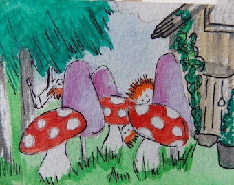 ACEO WATERCOLOUR Woodland Folk three brothers