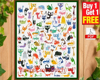 99 Funny Cats and One funny puppy, cross stitch pattern, embroidery charts, cross stitch patterns, #sp 268
